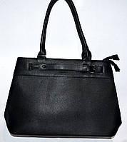 Женская черная сумка с двумя ручками на два отдела 36*26