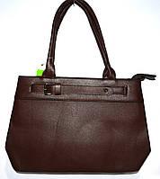 Женская каштановая сумка с двумя ручками на два отдела 36*26