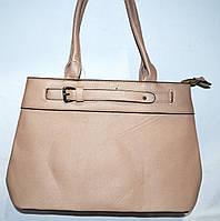 Женская бежевая сумка с двумя ручками на два отдела 36*26