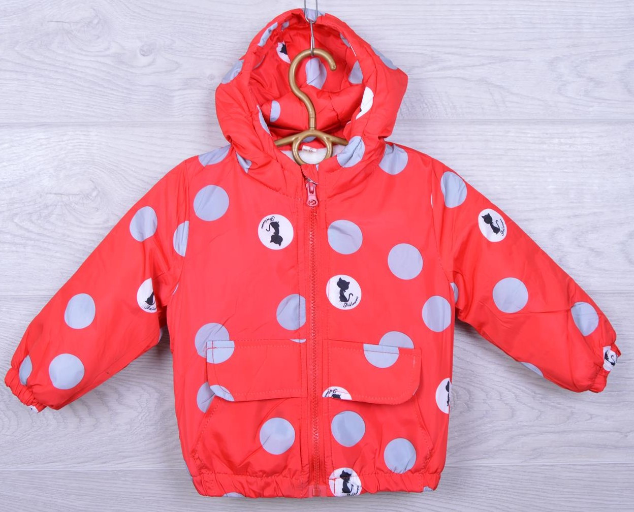 Куртка детская демисезонная Jinshouzhi #26-1 для девочек. 1-2-3-4 года. Красная. Оптом.