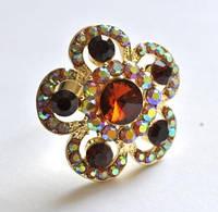 КО1680-3 кольца. Безразмерное с оранжевыми камнями