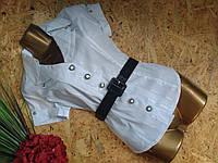 Блузка рубашка+пояс 7575 белый 44-48р Польша