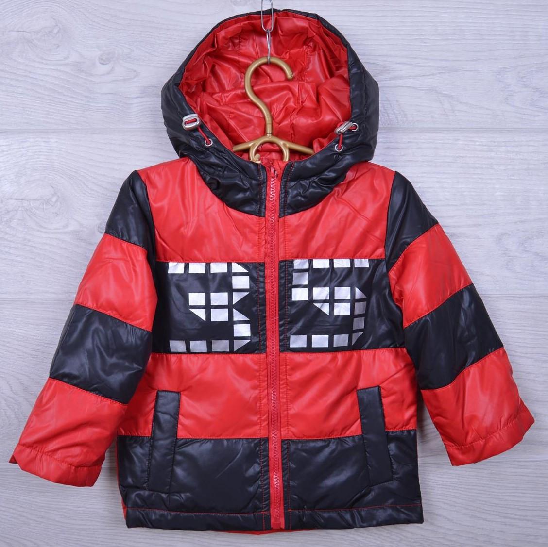 """Куртка детская демисезонная """"35"""" #9-2 для мальчиков. 90-120 см. Черный+красный. Оптом."""