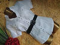 Блузка рубашка+пояс 1253 белый 44р Польша