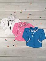 Блузка школьная трикотажная для девочки с кружевом, р.р.28-42