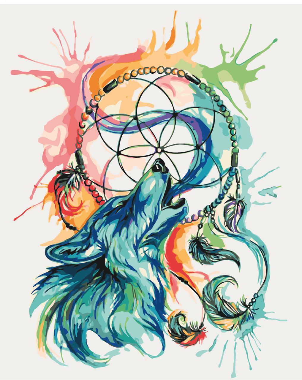 Картина по номерам Ловец снов. Волк (KH4004) Идейка 40 х 50 см