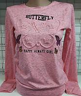 Батник 3D с бабочкой коттоновый женский Butterfly, фото 1