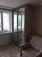 Шкаф-купе, двери   - зеркало с пескоструйным рисунком