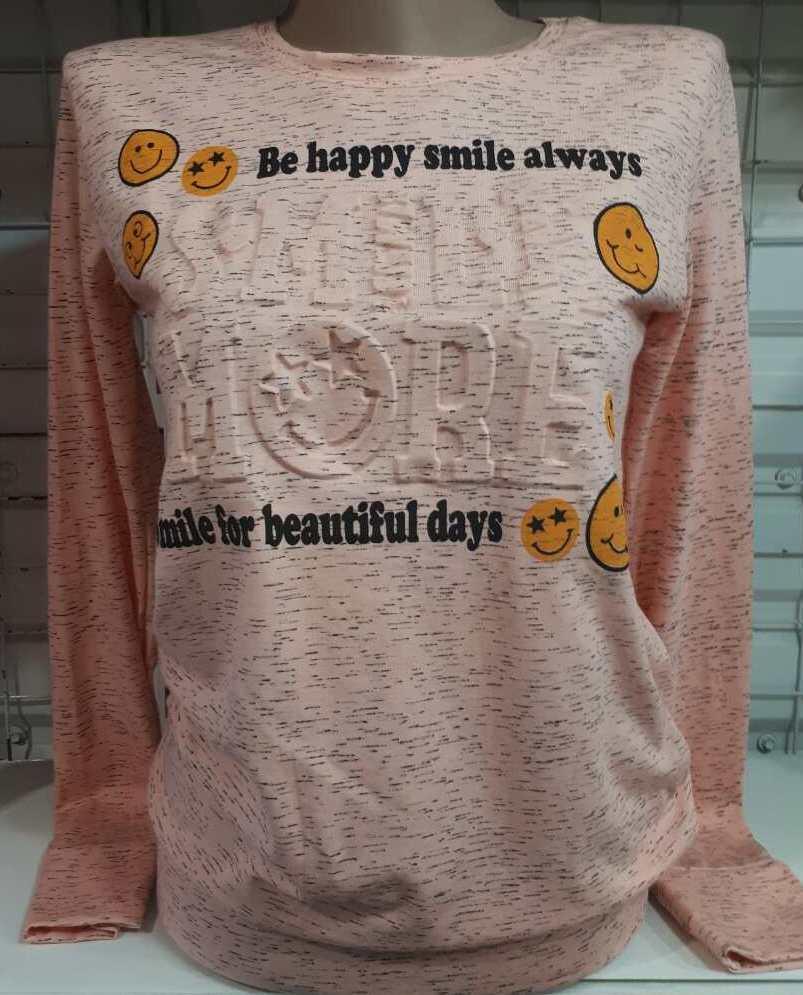 Батник 3D со смайлами коттоновый женский Be Happy