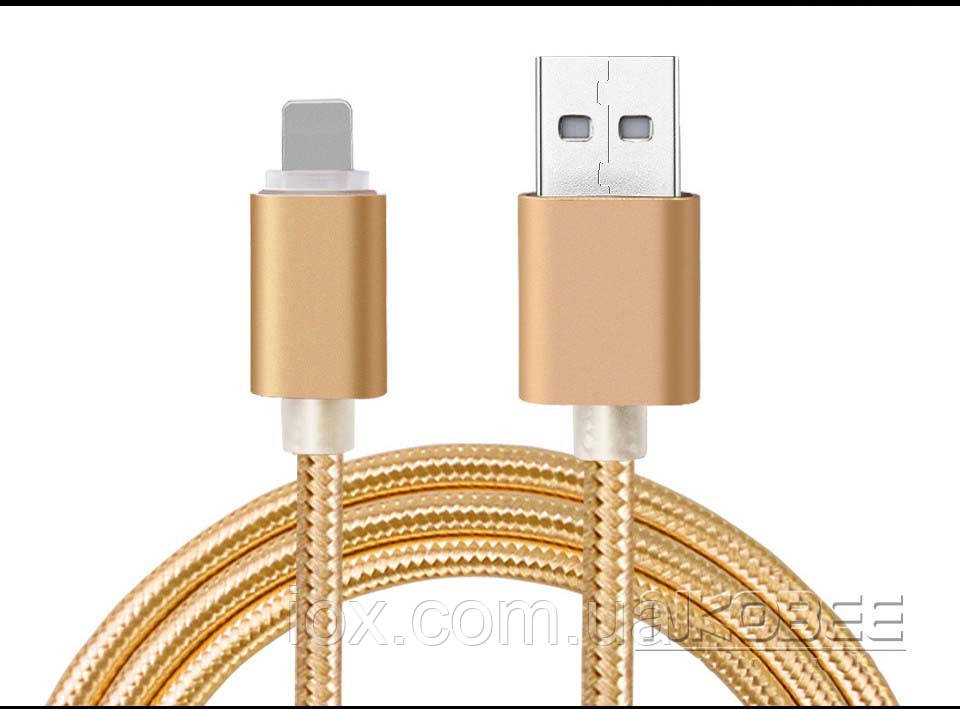 Плетеный золотой USB кабель Nkobee  для Apple Iphone 5, 5S, 6, 6S, 6 плюс