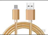 Плетеный золотой USB кабель Nkobee  для Apple Iphone 5, 5S, 6, 6S, 6 плюс, фото 1