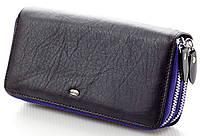 Женский кожаный кошелек клатч ST на две молнии Цвет фиолетовый