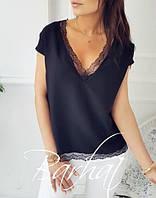 Блуза женская с кружевом черная  066