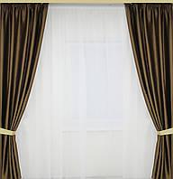Готовые атласные  шторы на окна шоколадного цвета