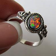 Редкость. Кольцо с австралийским дуплет опалом (7х5мм). Серебро. Австралия
