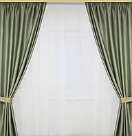Атласные  шторы оливкового цвета 2 штуки