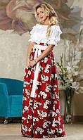 Красивая юбка в пол красного цвета