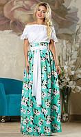 Красивая юбка в пол бирюзового цвета