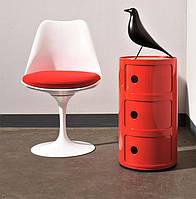 Стул Tulip chairбелый пластик, алюминиевая основа, красная подушка, стиль модерн, дизайнEero Saarinen