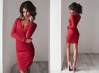 Стильное ассиметричное облегающее платье на запах с длинным рукавом из искусственной замши  +цвета