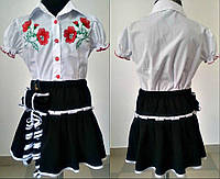 Школьная блузка для девочки белая с вышивкой