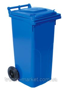 Контейнер для мусора на колесах 120л, пластик,Украина, синий, коричневый, оранжевый, фото 2