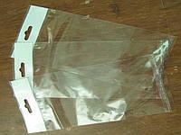 Пакет прозрачный 9см. 28см 25мк. со скотчем и европодвесом (1000шт.)