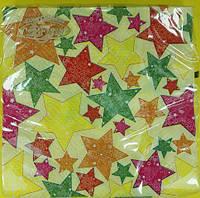 Салфетки двухслойные ЗЗхЗЗ 20шт Новогодние звёзды (1пач)