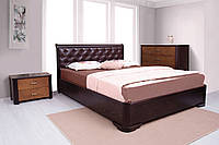 """Деревянная с мягким изголовьем двухспальная кровать с подъемным механизмом  """"Ассоль"""""""