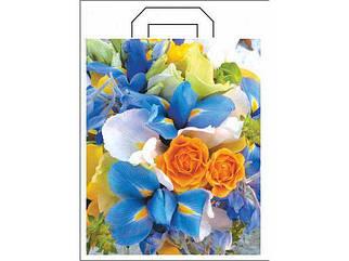 """Пакет с петлевой ручкой 34см 41см """"Цветы"""" (25 шт)"""