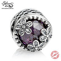 """Серебряная подвеска шарм Пандора (Pandora) """"Луг маргариток. Фиолетовый"""" для браслета бусина"""