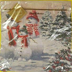 Салфетка для декупажа ЗЗхЗЗ 20шт Семья снеговиков (1 пач)