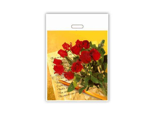"""Пакет c прорезной ручкой 42*50см """"Розы"""" ХВГ (25 шт)"""
