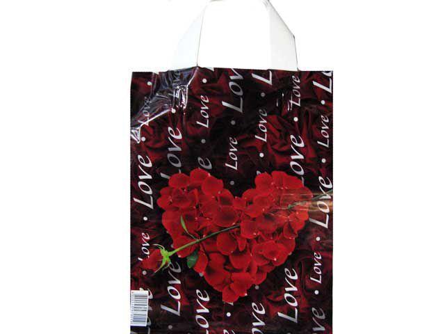 """Пакет ламинированный с петлевой ручкой """"Сердце с розой"""" 23см 29см 50мк (50 шт)"""