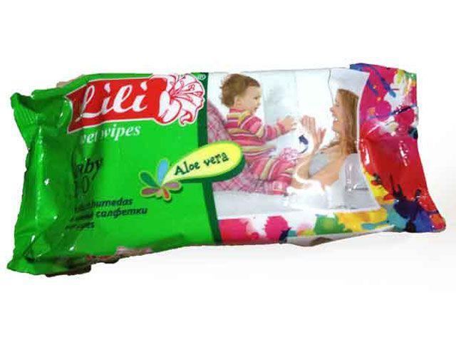 "Салфетки влажные Lili (100 шт.) ""Алоэ"" (1 пач)"