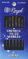 Chenille 18/22 (6шт) Набор игл для вышивания лентами с золотым ушком Royal (Япония) • 6055