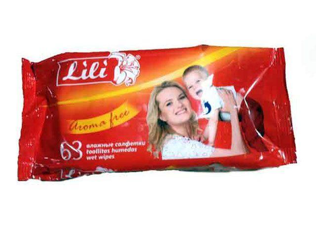 "Салфетки влажные Lili (63 шт.) ""Без запаха"" (1 пач)"