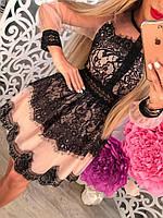 Красивое вечернее платье с кружевом длинный рукав