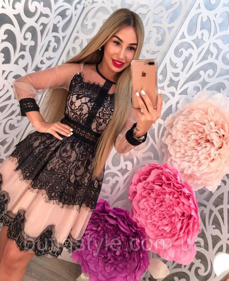 Красивое вечернее платье с кружевом длинный рукав 44 размер!