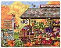 """Набор для вышивания крестом """"Buck's County Farm Stand//Тележка с овочами"""" Janlynn • 017-0111"""
