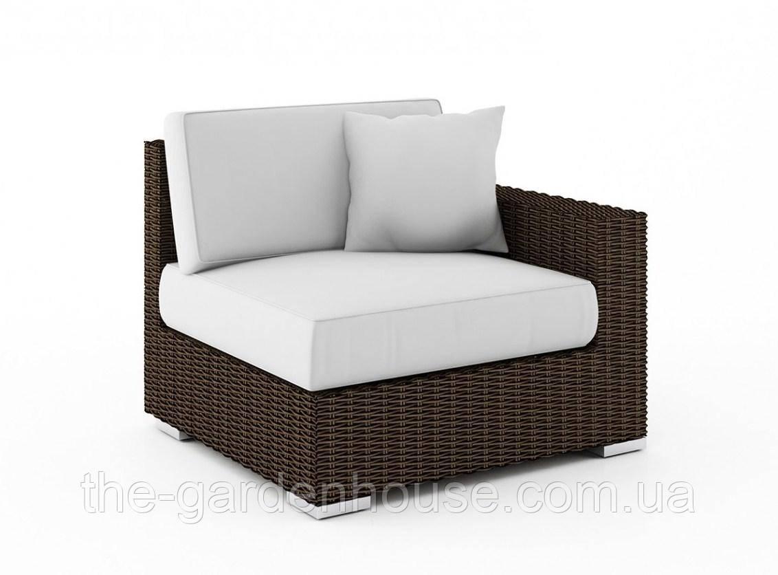 Правый диванный модуль Milano Royal из искусственного ротанга коричневый