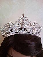 Диадема для невесты, корона, тиара в серебре,  высота 6 см.
