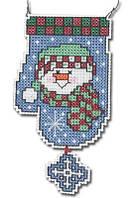 """Набор для вышивания крестом """"Snowman Mitten Wizzer//Снеговик рукавичка"""" Janlynn • 021-1096"""