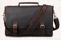 Мужской портфель из натуральной кожи TIDING BAG; t8069DB, коричневый