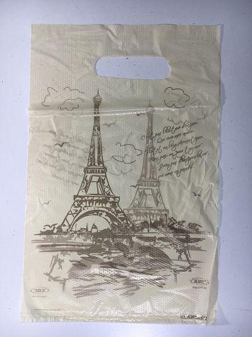 Пакет з прорізною ручкою 20см 30см Париж (100 шт)