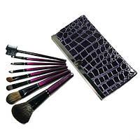 Набор кистей для макияжа 8 шт в кошельке клатче фиолетовые, фото 1