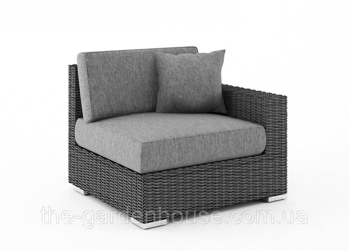 Правый диванный модуль Milano Royal из искусственного ротанга серый