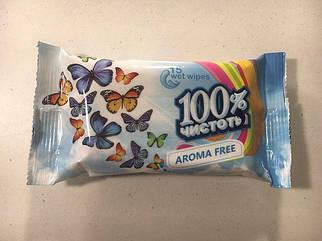 """Влажная салфетка 15шт """"100%чистоты""""Froma free/Без запаха (1 пач)"""