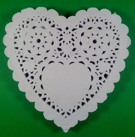 Ажурная салфетка, бумажная, сердце, белая, Ф14см 200шт