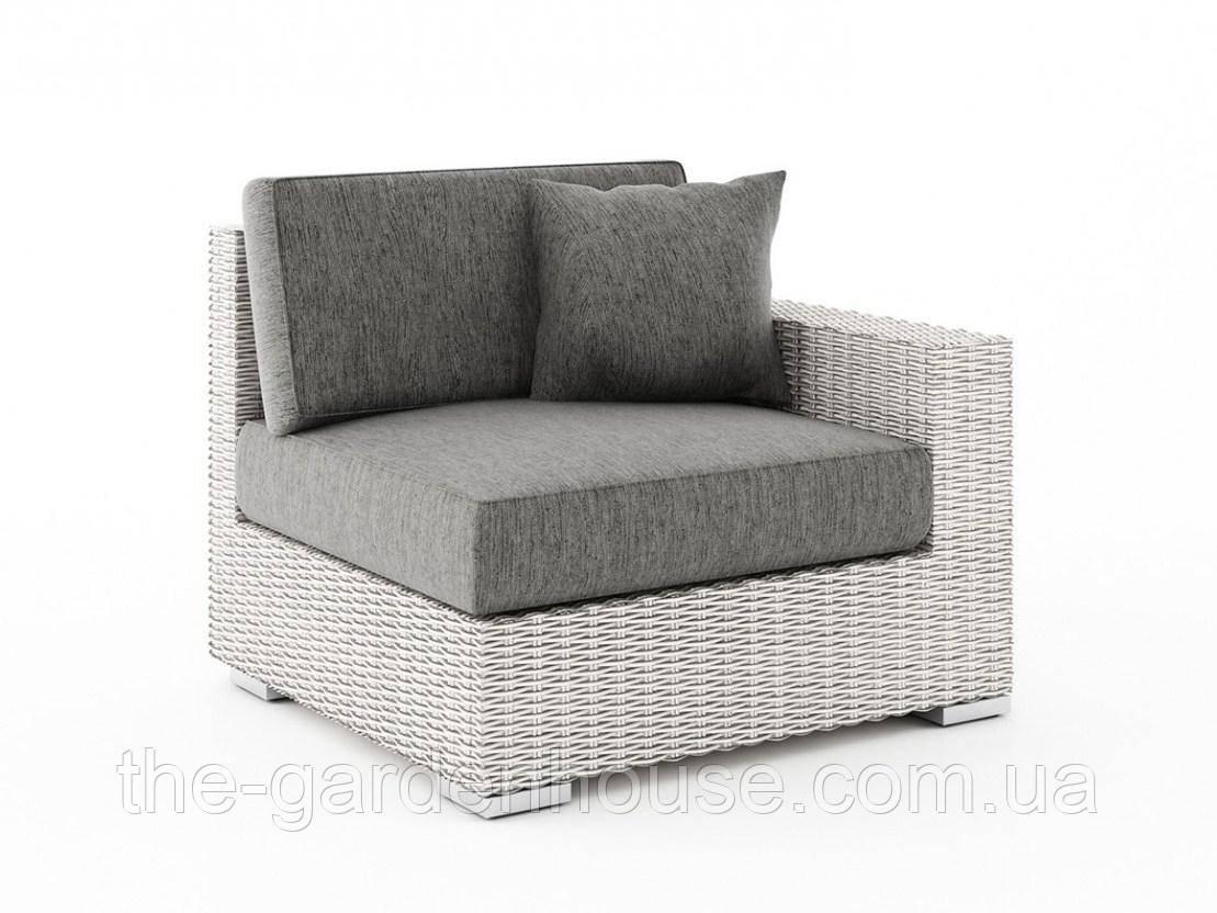 Правый диванный модуль Milano Royal из искусственного ротанга белый